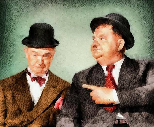 Laurel Wall Art - Painting - Laurel And Hardy Hollywood Legends by John Springfield