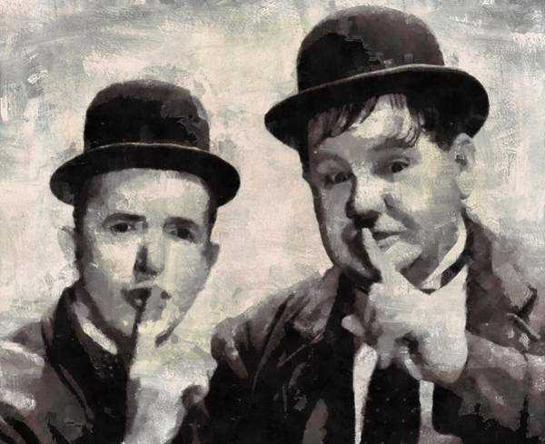 Laurel Wall Art - Painting - Laurel And Hardy Hollywood Legends by Mary Bassett