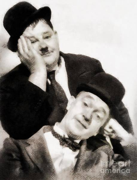Screen Painting - Laurel And Hardy, Vintage Comedians by John Springfield