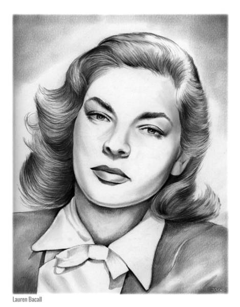 Actress Drawing - Lauren Bacall by Greg Joens