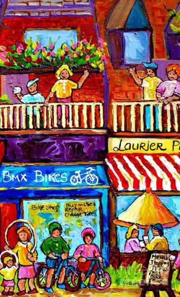 Painting - Laurier Bike Shop Montreal Art Summer City Scenes Plateau Mont Royal Canadian Scene Carole Spandau by Carole Spandau