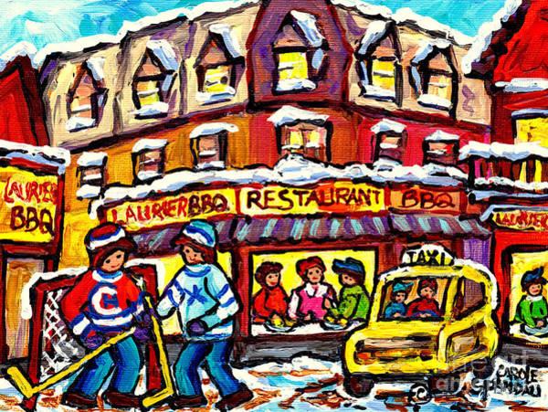 Painting - Laurier Bar B Q Restaurant Paintings  Montreal Winter Street Scenes Hockey Art Canadian Artist  by Carole Spandau