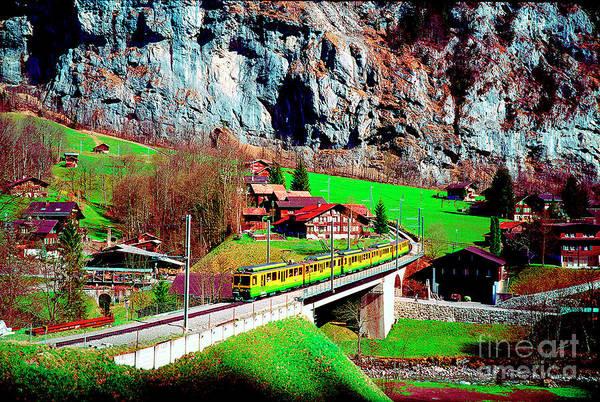 Photograph -  Lauterbrunnen Electric Train by Tom Jelen