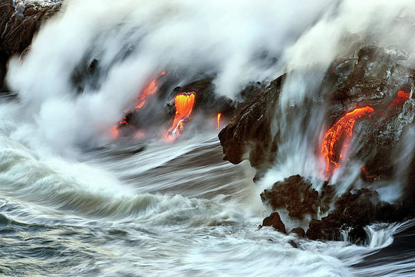 Big Island Photograph - Lava And Ocean by Christopher Johnson