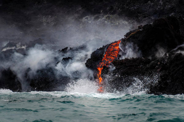 Lava Dripping Into The Ocean Art Print