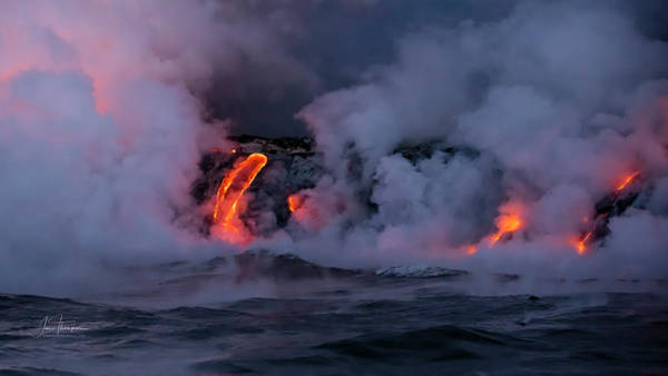 Photograph - Lava Flowing Into The Ocean 12 by Jim Thompson