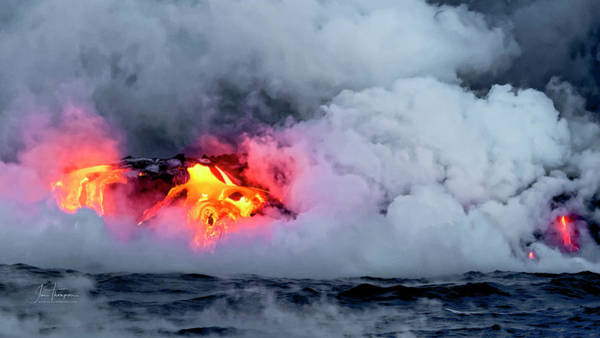 Photograph - Lava Flowing Into The Ocean 14 by Jim Thompson