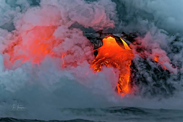 Photograph - Lava Flowing Into The Ocean 15 by Jim Thompson