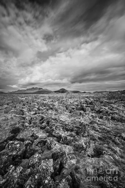 Mars Photograph - Lava Rock Bw by Michael Ver Sprill
