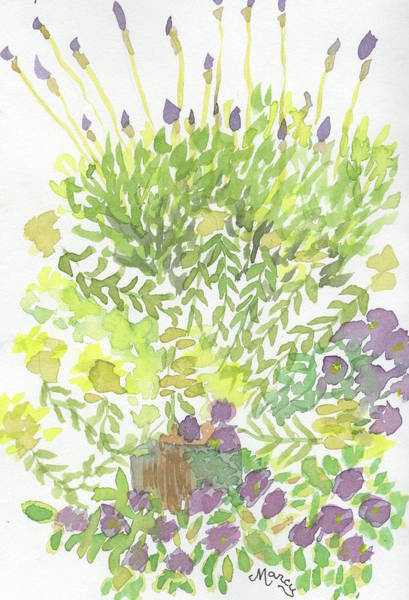 Snapdragons Painting - Lavender And Snapdragons by Marcy Brennan