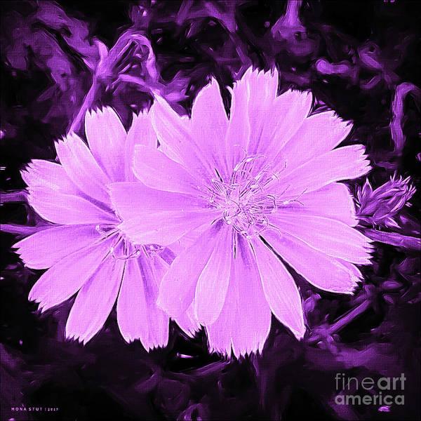 Blue Daisy Twins Lavender Art Print