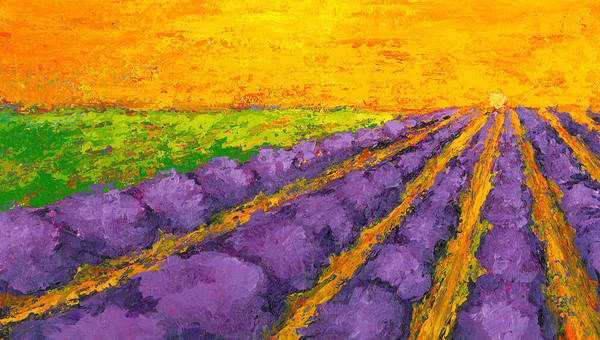 Painting - Lavender Field A Modern Impressionistic Artwork In Palette Knife by Patricia Awapara
