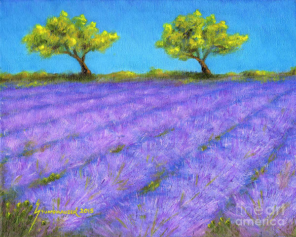 Wall Art - Painting - Lavender Field With Twin Oaks by Jerome Stumphauzer