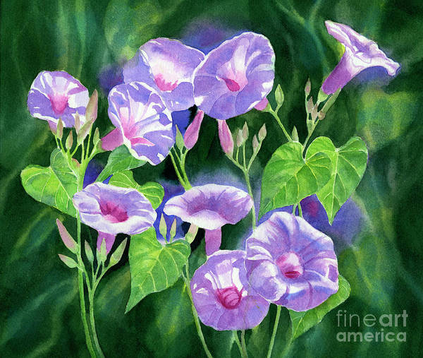 Glory Painting - Lavender Morning Glories With Background by Sharon Freeman