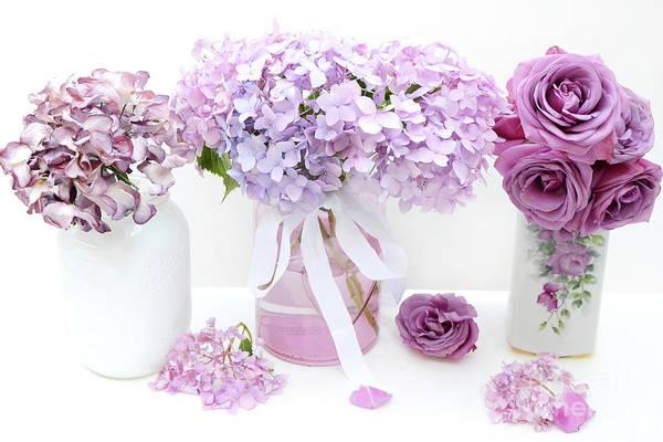 Hydrangea Photograph - Lavender Purple Shabby Chic Romantic Cottage Hydrangeas - Shabby Chic Cottage Hydrangeas Roses Art by Kathy Fornal