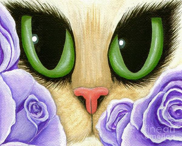 Painting - Lavender Roses Cat - Green Eyes by Carrie Hawks