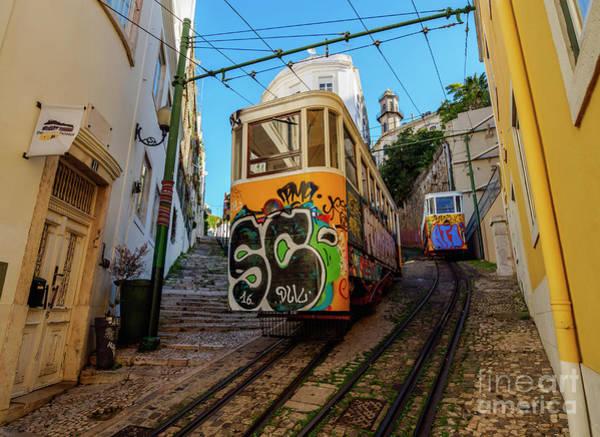 Carris Photograph - Lavra Funicular, Lisbon, Portugal by Karol Kozlowski