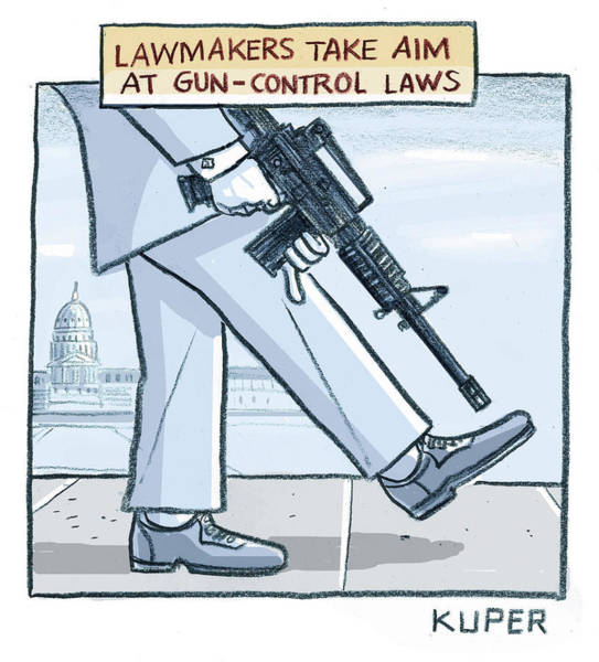 Washington Dc Drawing - Lawmakers Take Aim At Gun Control Laws by Peter Kuper