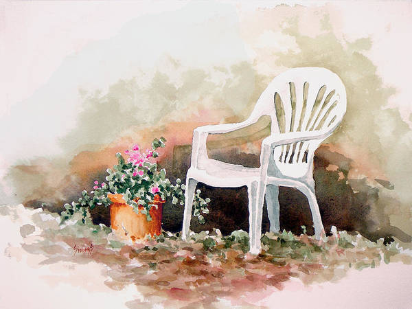 Painting - Lawn Chair With Flowers by Sam Sidders