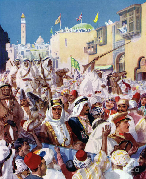 Wall Art - Painting - Lawrence Of Arabia Riding Through The Liberated City Of Damascus by English School