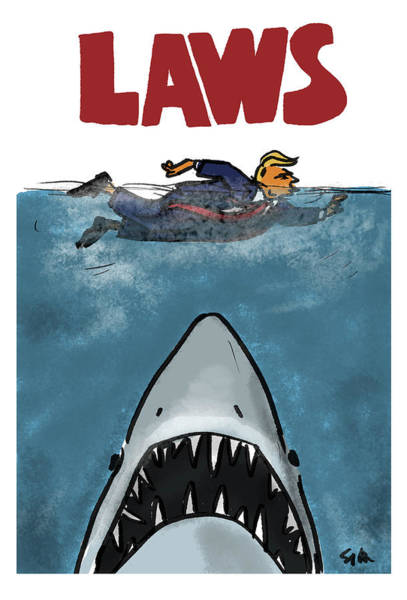 Sharks Drawing - Laws by Sofia Warren