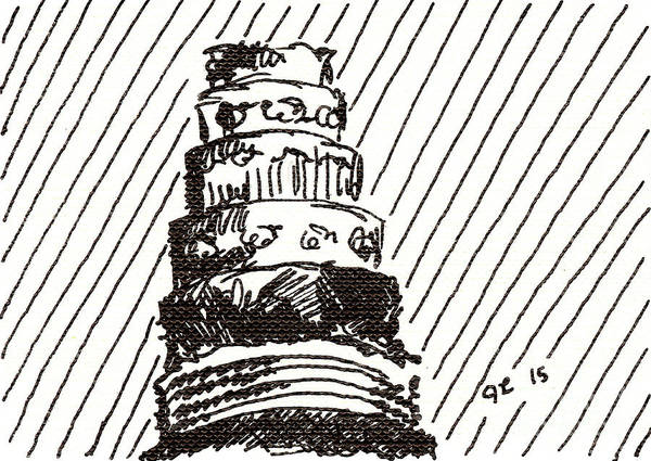 Drawing - Layer Cake 1 2015 - Aceo by Joseph A Langley