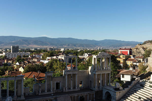Photograph - Layers And Centuries - Plovdiv The Antique Roman Theater And Rhodope Mountains by Georgia Mizuleva