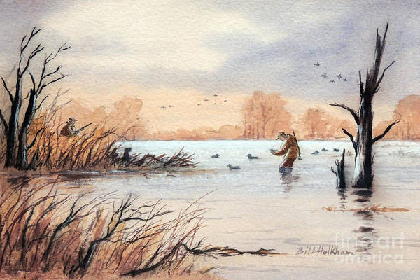 Shooting Painting - Laying Out The Decoys I by Bill Holkham