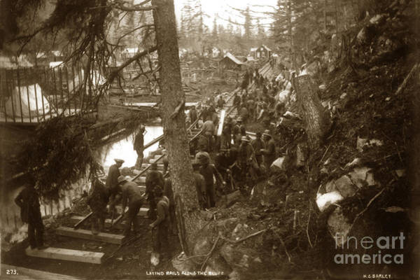 Photograph - Laying Rails Along The Bluff Skagway, Alaska 1898 by California Views Archives Mr Pat Hathaway Archives