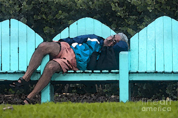 Park Bench Digital Art - Lazy Afternoon In South Beach by Christopher Purcell