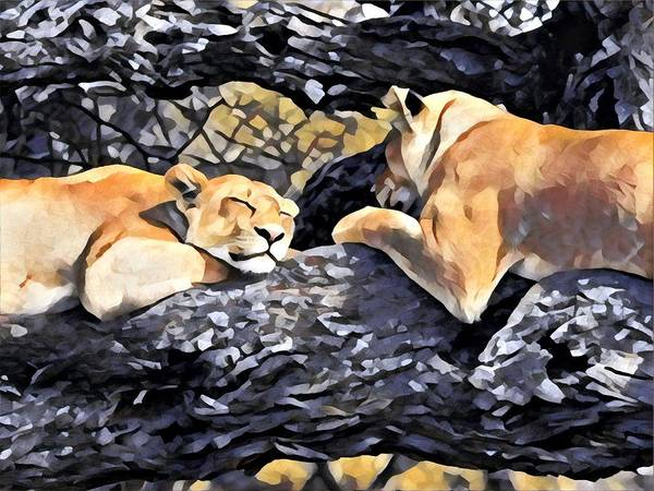 Kenya Mixed Media - Lazy Lionesses by Lori Allen
