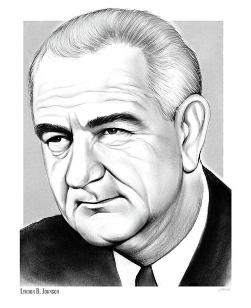 Wall Art - Drawing - LBJ by Greg Joens