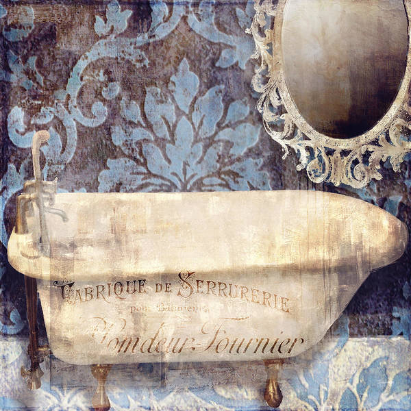 Tub Wall Art - Painting - Le Bain Paris Blue by Mindy Sommers
