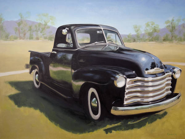 Old Chevy Truck Painting - Le Camion Noir by Elizabeth Jose