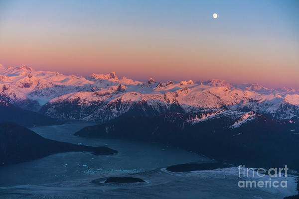 Seaplanes Photograph - Le Conte Bay And Glacier At Dusk Full Moon by Mike Reid