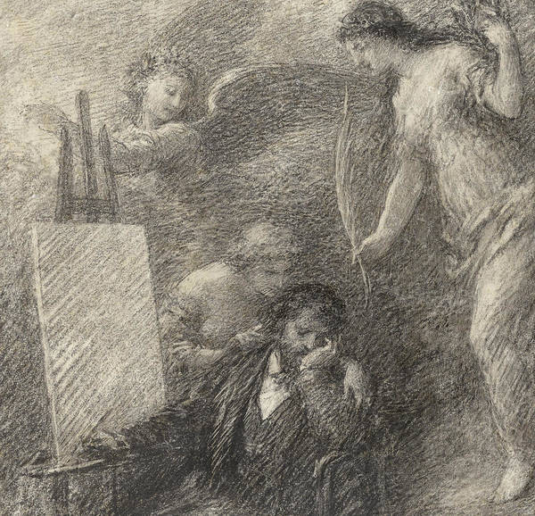Crayon Drawing - Le Decouragement De L'artiste by Henri Fantin-Latour