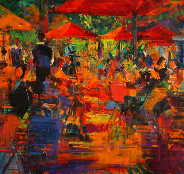 Parisian Cafe Painting - Le Grand Cafe by Peter Graham