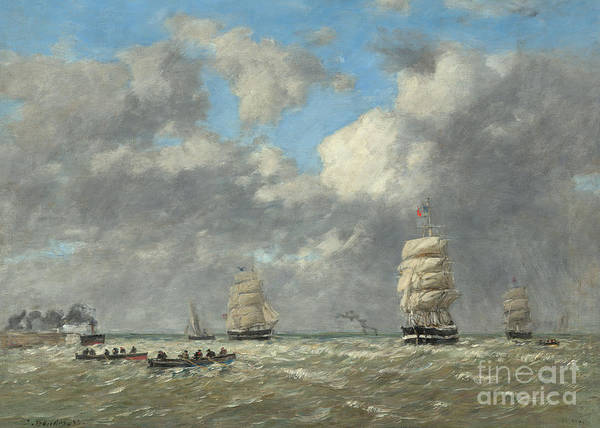 Set Sail Painting - Le Havre, 1883 by Eugene Louis Boudin