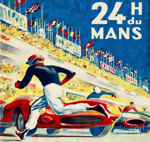 Le Mans 24 Painting - Le Mans 24 Hour Race 1959 Vintage by Ian Gledhill