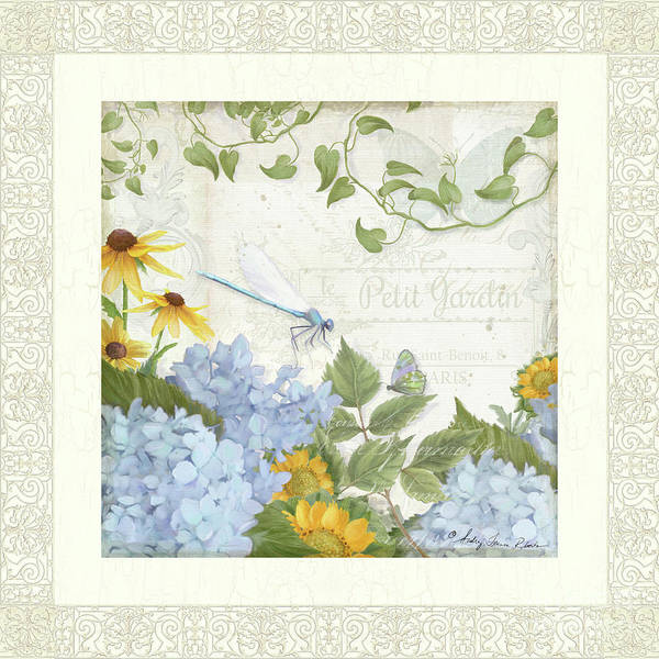 Jardin Painting - Le Petit Jardin 2 - Garden Floral W Dragonfly, Butterfly, Daisies And Blue Hydrangeas W Border by Audrey Jeanne Roberts