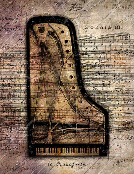 Grand Piano Digital Art - Le Pianoforte  by Gary Bodnar
