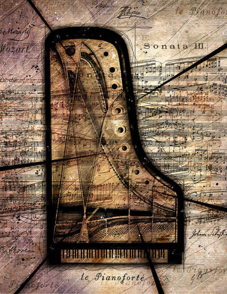 Grand Piano Digital Art - Le Pianoforte Variation II by Gary Bodnar