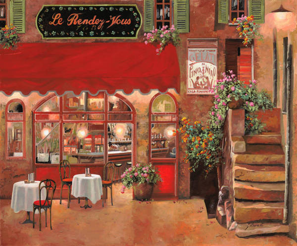 Cafes Wall Art - Painting - Le Rendez Vous by Guido Borelli