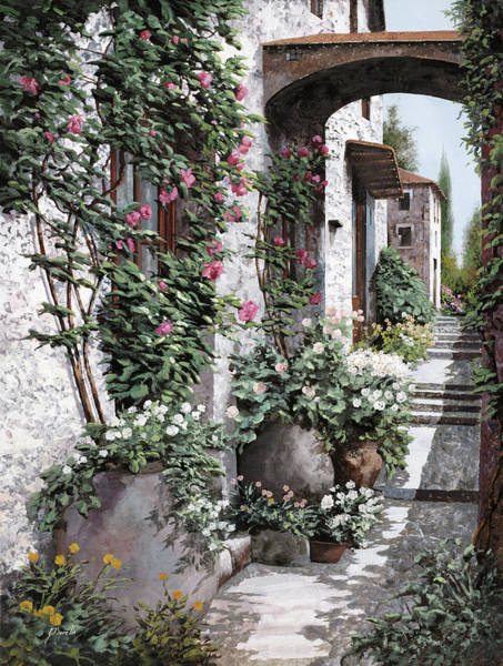 Village Painting - Le Rose Rampicanti by Guido Borelli