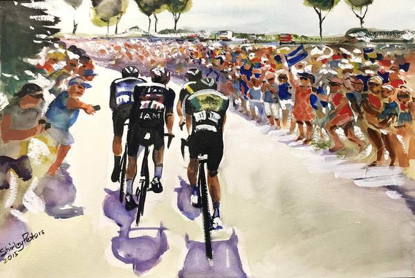Le Tour De France Wall Art - Painting - Le Tour Near The Coast by Shirley Peters
