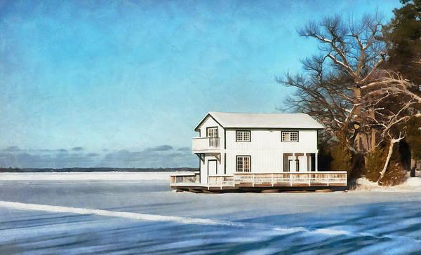 Digital Art - Leacock Boathouse In Winter by JGracey Stinson