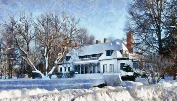 Digital Art - Leacock Museum In Winter by JGracey Stinson