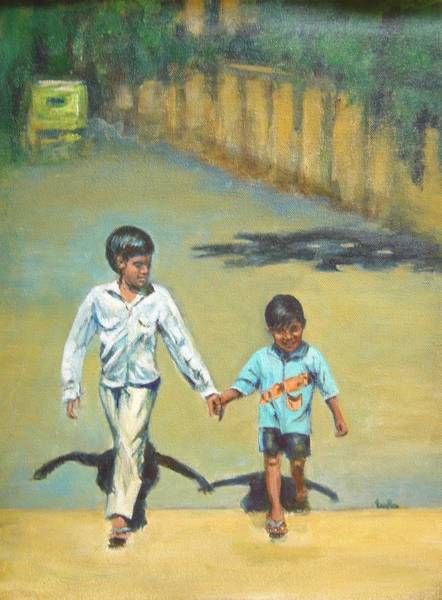 Usha Painting - Lead Kindly Brother by Usha Shantharam