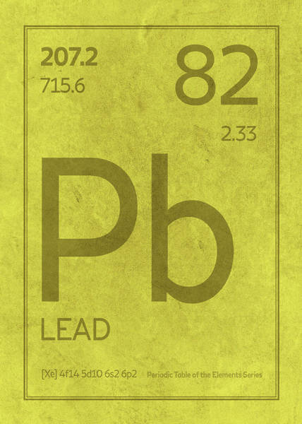 Atomic Number Wall Art - Mixed Media - Lead Pb Element Symbol Periodic Table Series 082 by Design Turnpike