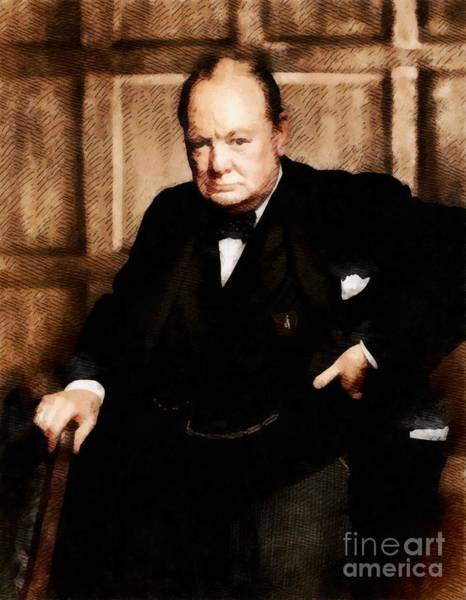 Dday Wall Art - Painting - Leaders Of Wwii - Winston Churchill by John Springfield